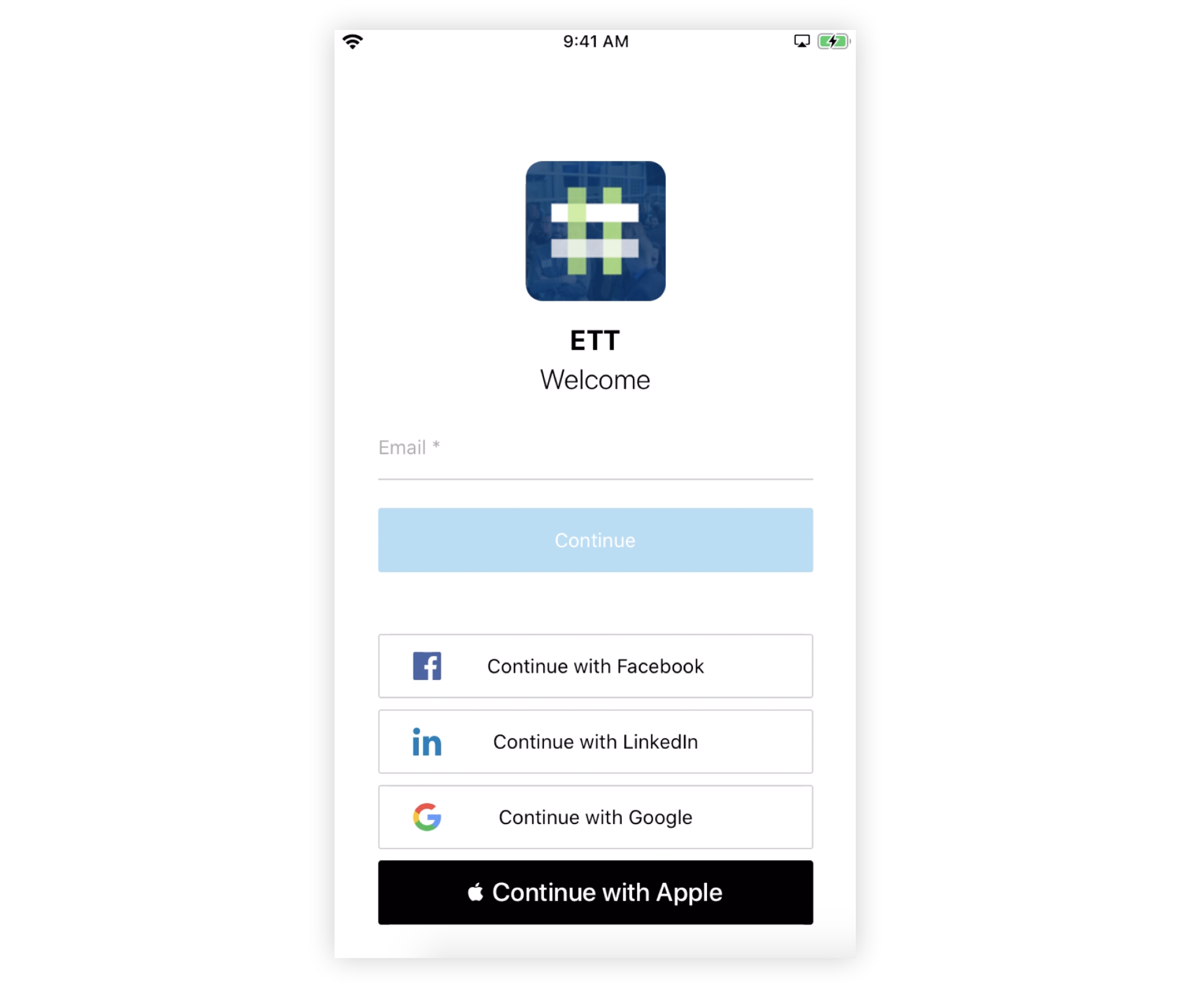 Screenshot of a Branded App login page with Email and Social displayed.