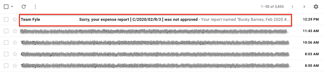 Mail notification of the action taken by the approver/admin