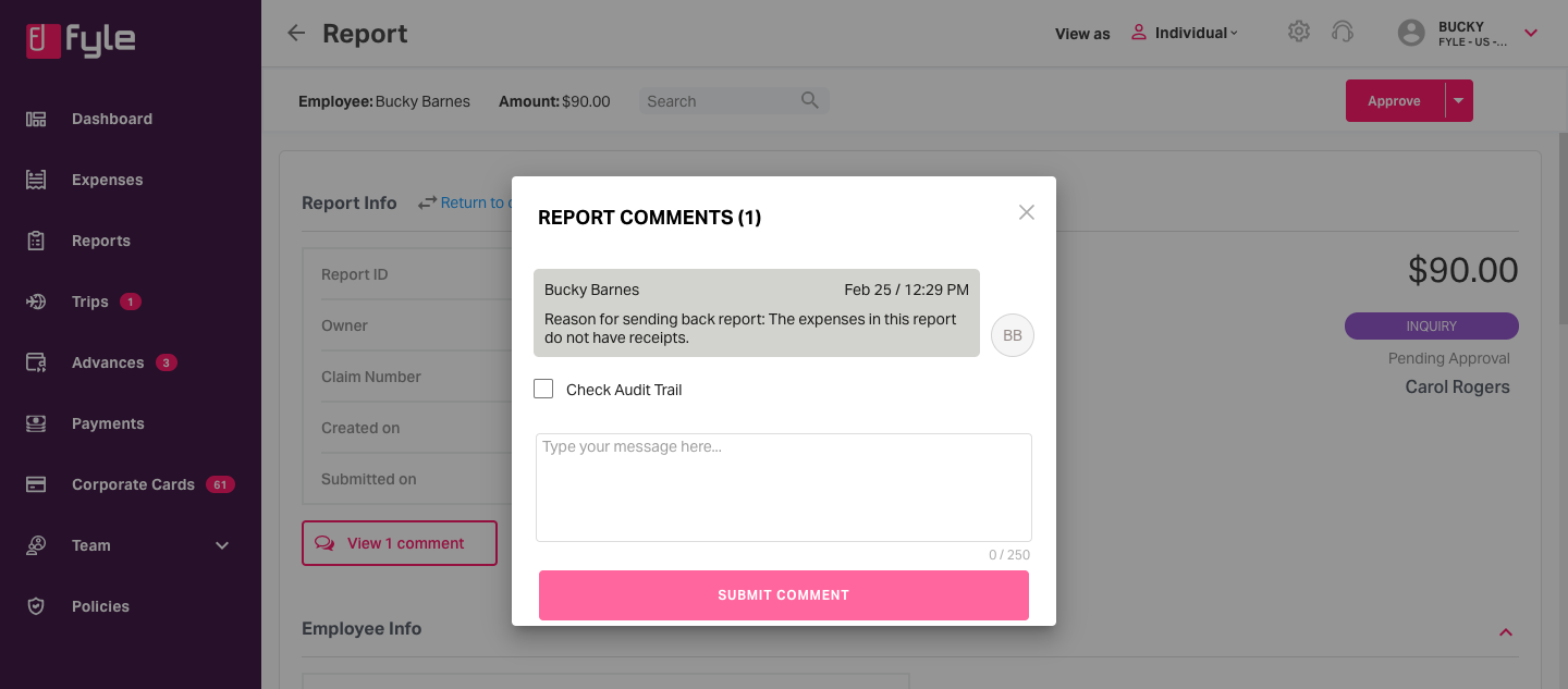 View the reason of why an action has been taken on the report by clicking on View Comments
