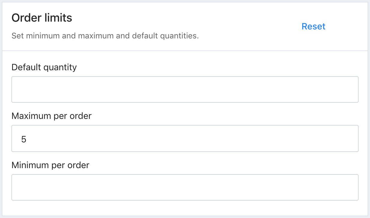 The Order limits section in Tito. The Default quantity is blank, the Maximum per order is 5, the Minimum per order is blank.
