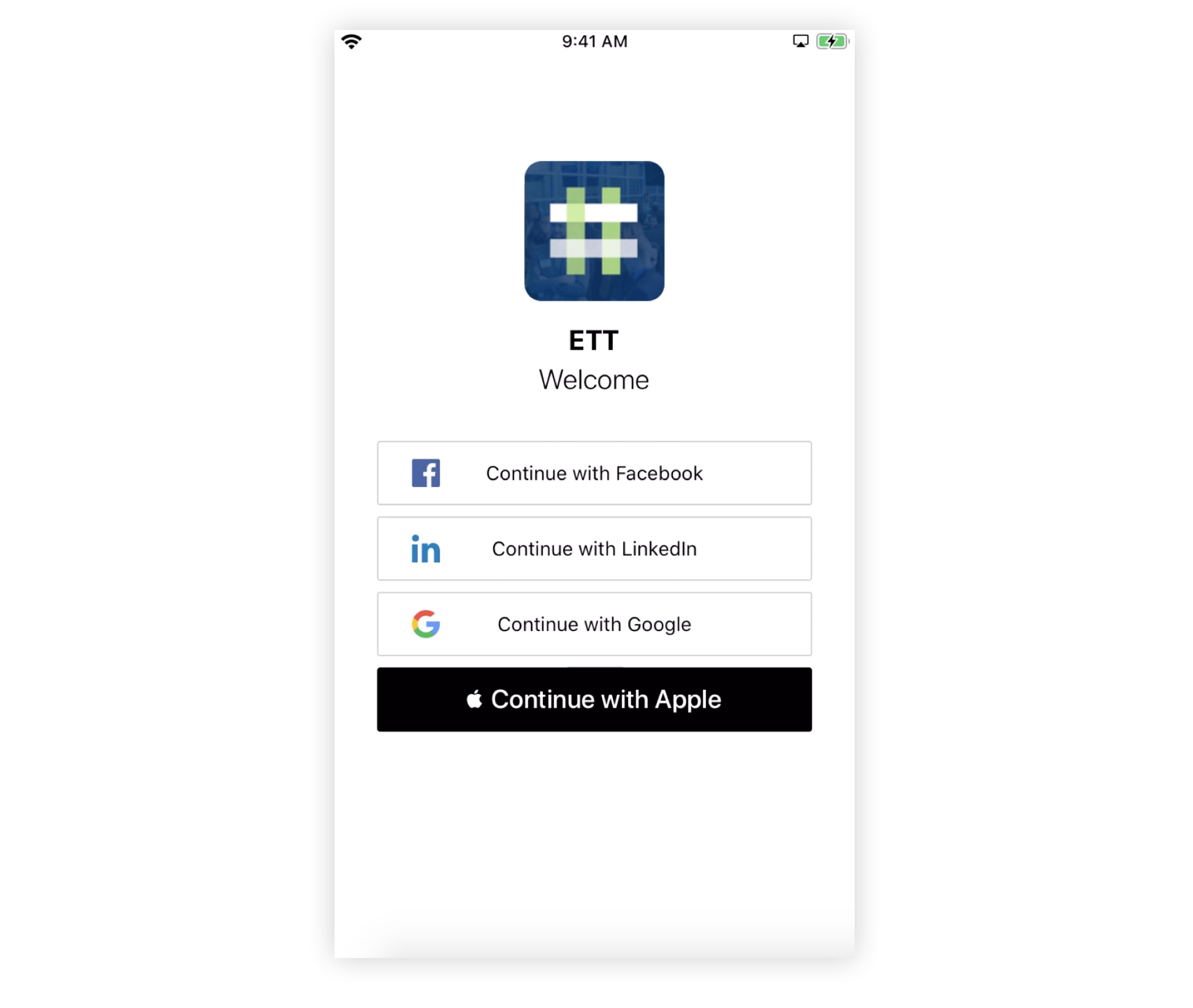 Screenshot of a Branded App login page with Social Only displayed.