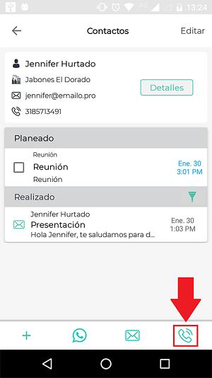Llamada en la app