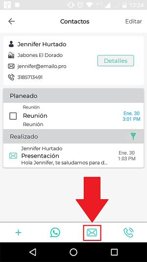 Correos en la app