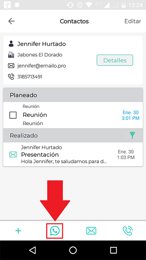 Whatsapp en la app