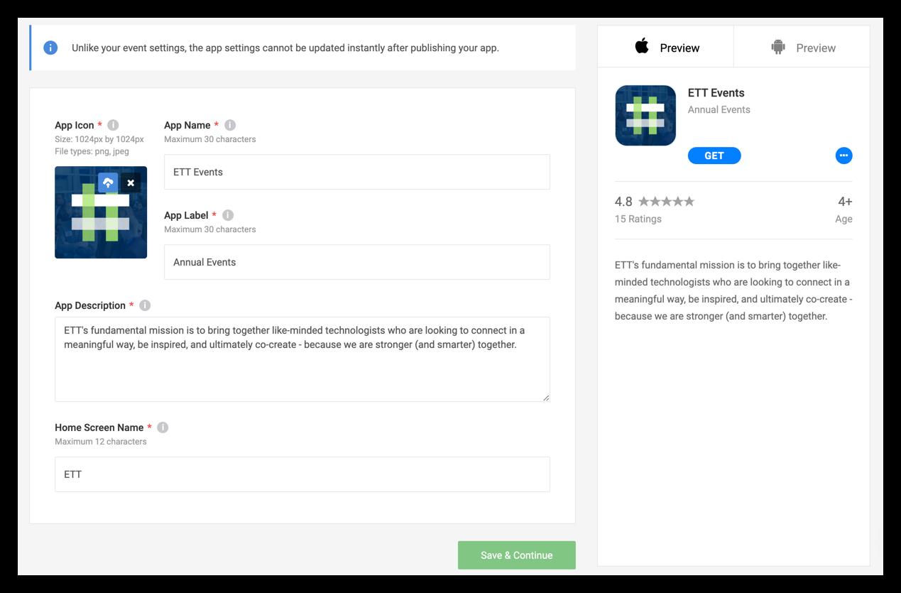Screenshot of the app basics page.