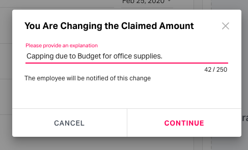 Provide an explanation for the changes made on the user's expense