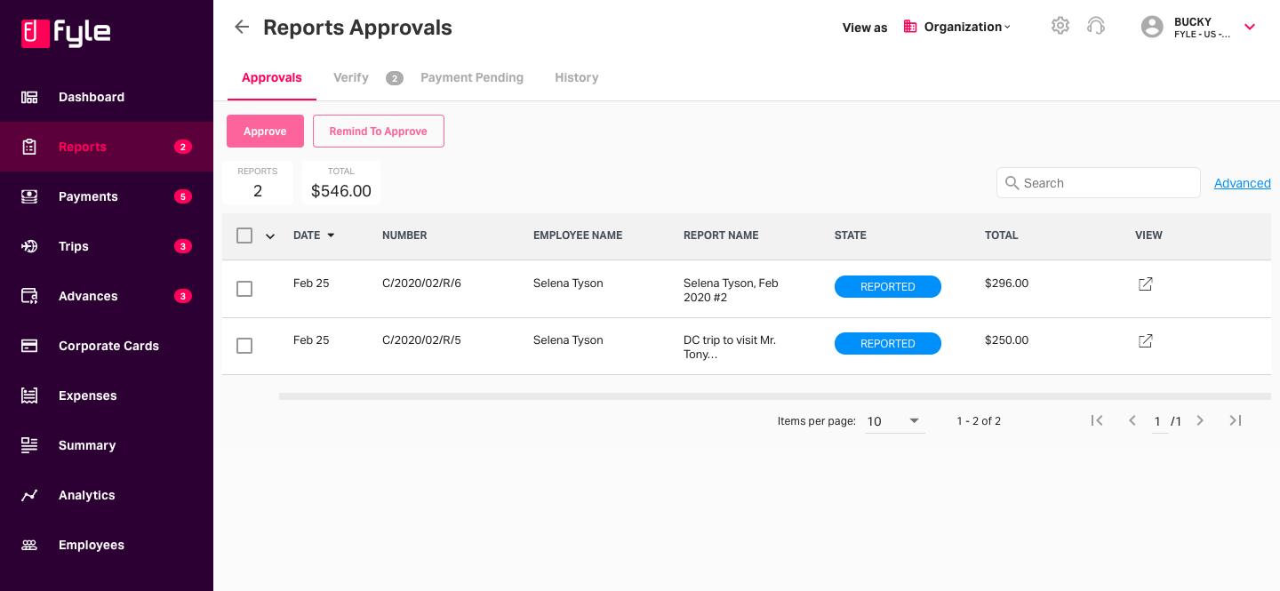 approvals tab on the reports page in admin view