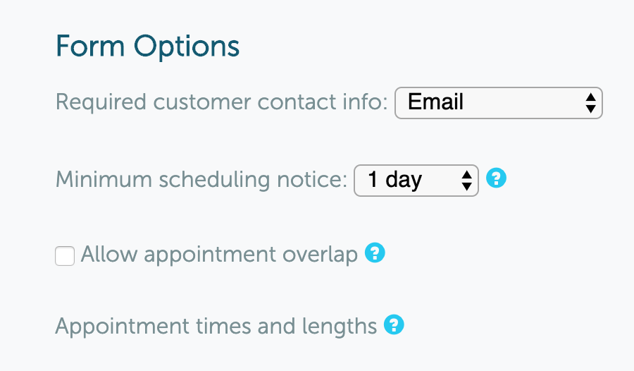 Booking Form Options