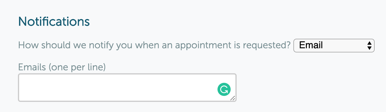 Booking form Notifications
