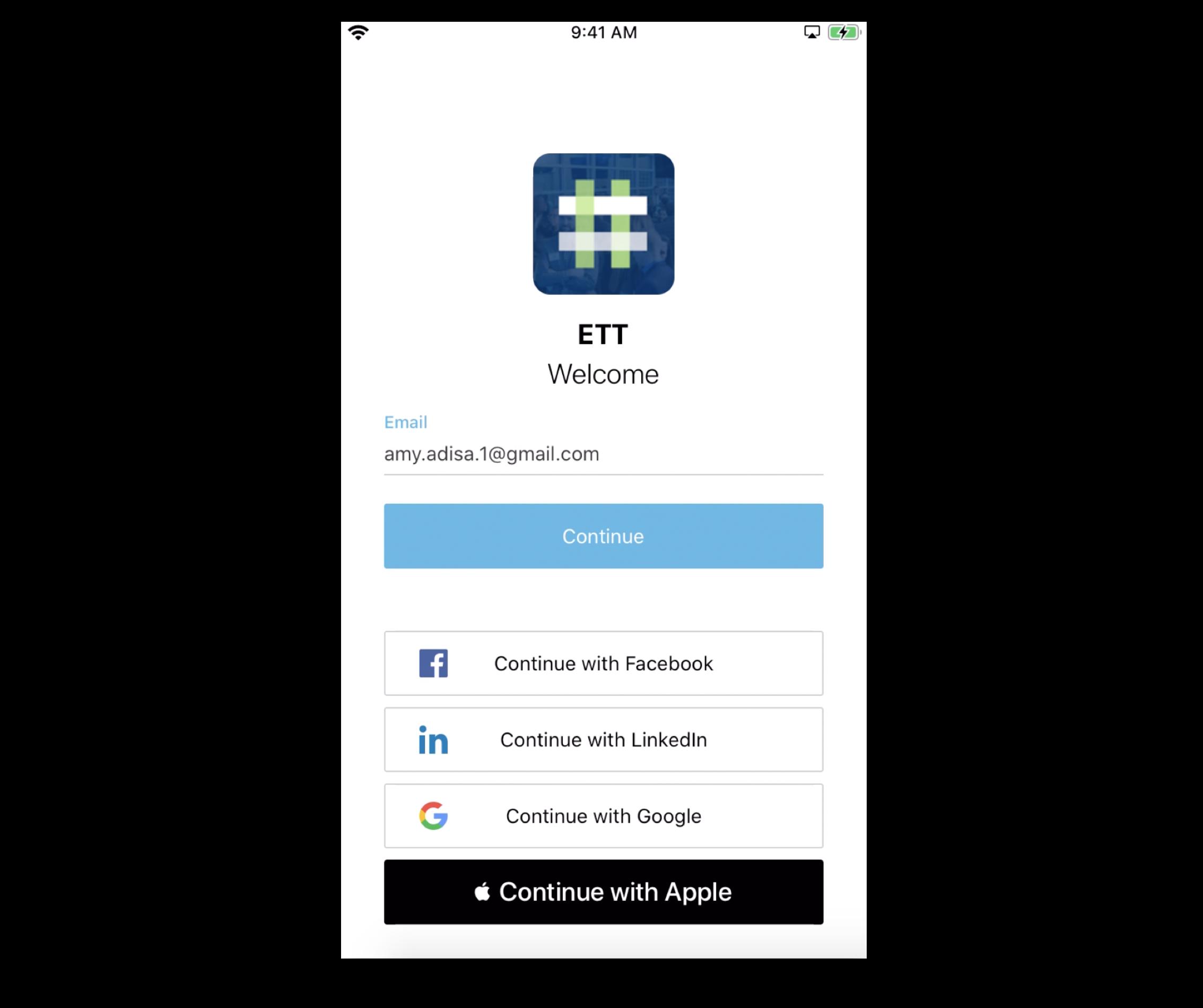 Screenshot of a branded App's login screen.