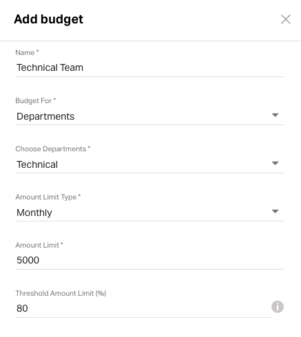 Adding Budgets in Admin settings