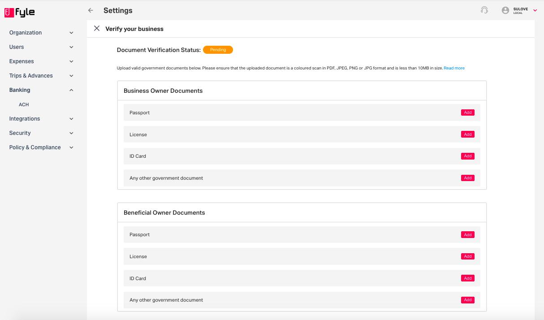document verification status under ACH