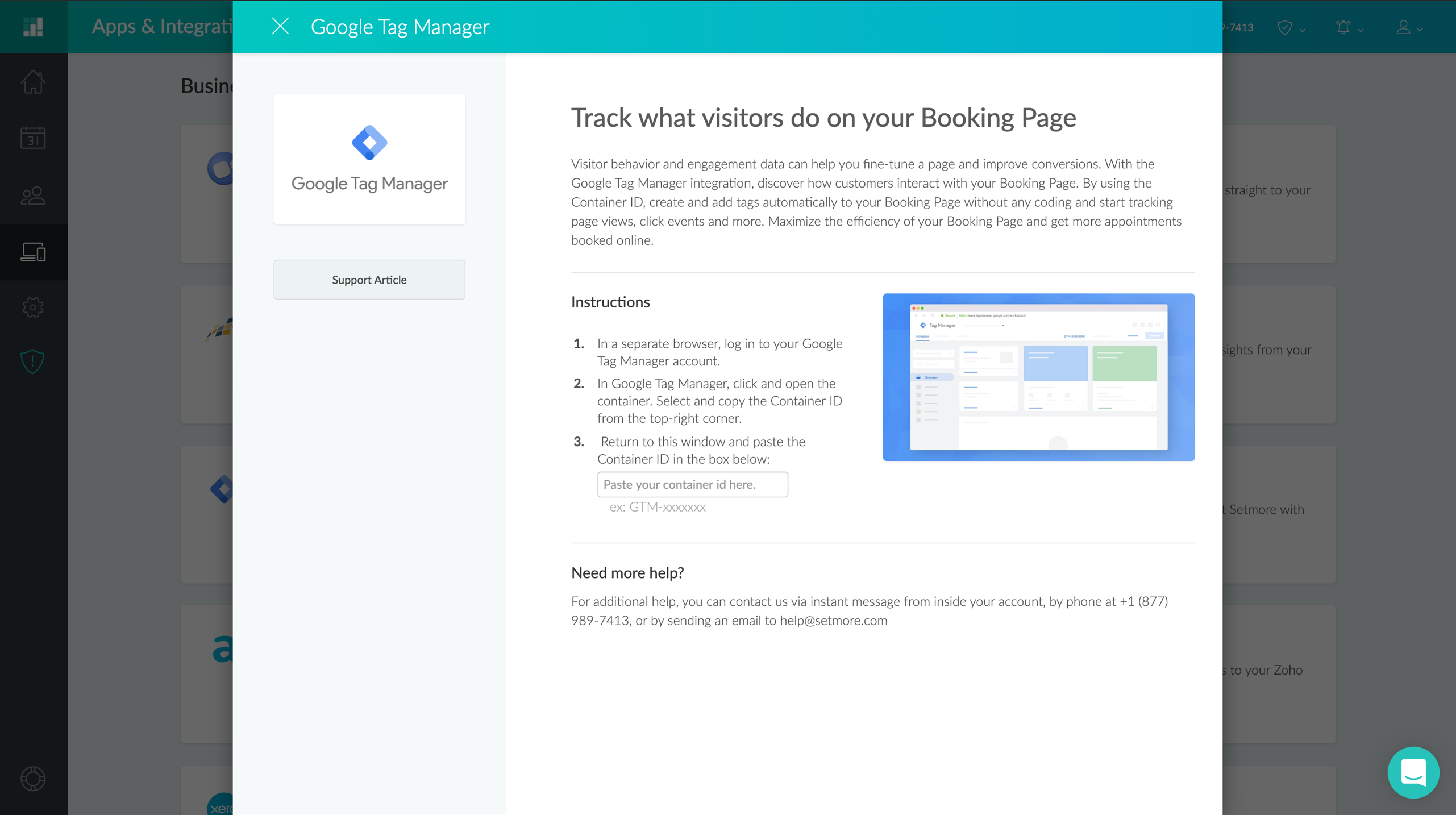 Deactivating the Google Tag Manager integration in Setmore