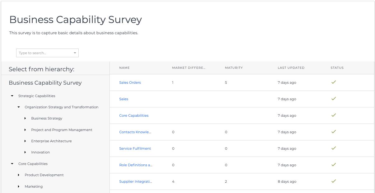 Ardoq survey functionality