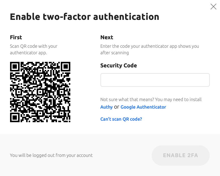 A screenshot shows to to enable two-factor authentication. Scan QR code and enter the authenticator app code after scanning.