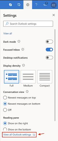 Ver todas las configuraciones de Outlook