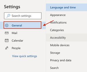 Configuraciones generales de Outlook