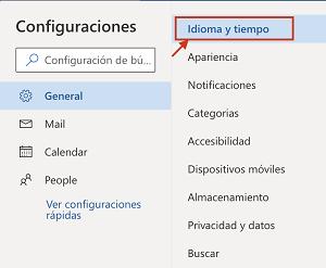 Idioma y tiempo en Outlook
