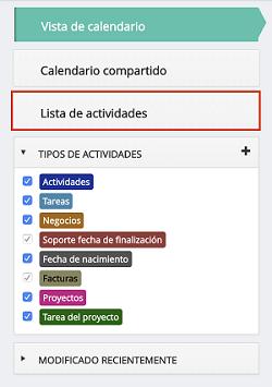Lista de actividades en DataCRM