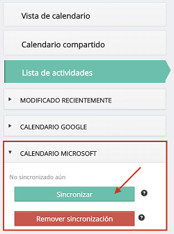 Calendario de Outlook sincronizado en en DataCRM