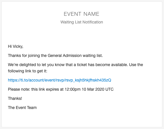 A sample email as generated by Tito that provides the user a link to their ticket.