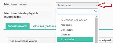 Seleccionar módulo de Actividades en DataCRM
