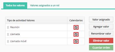 Marcar check de actividades en DataCRM