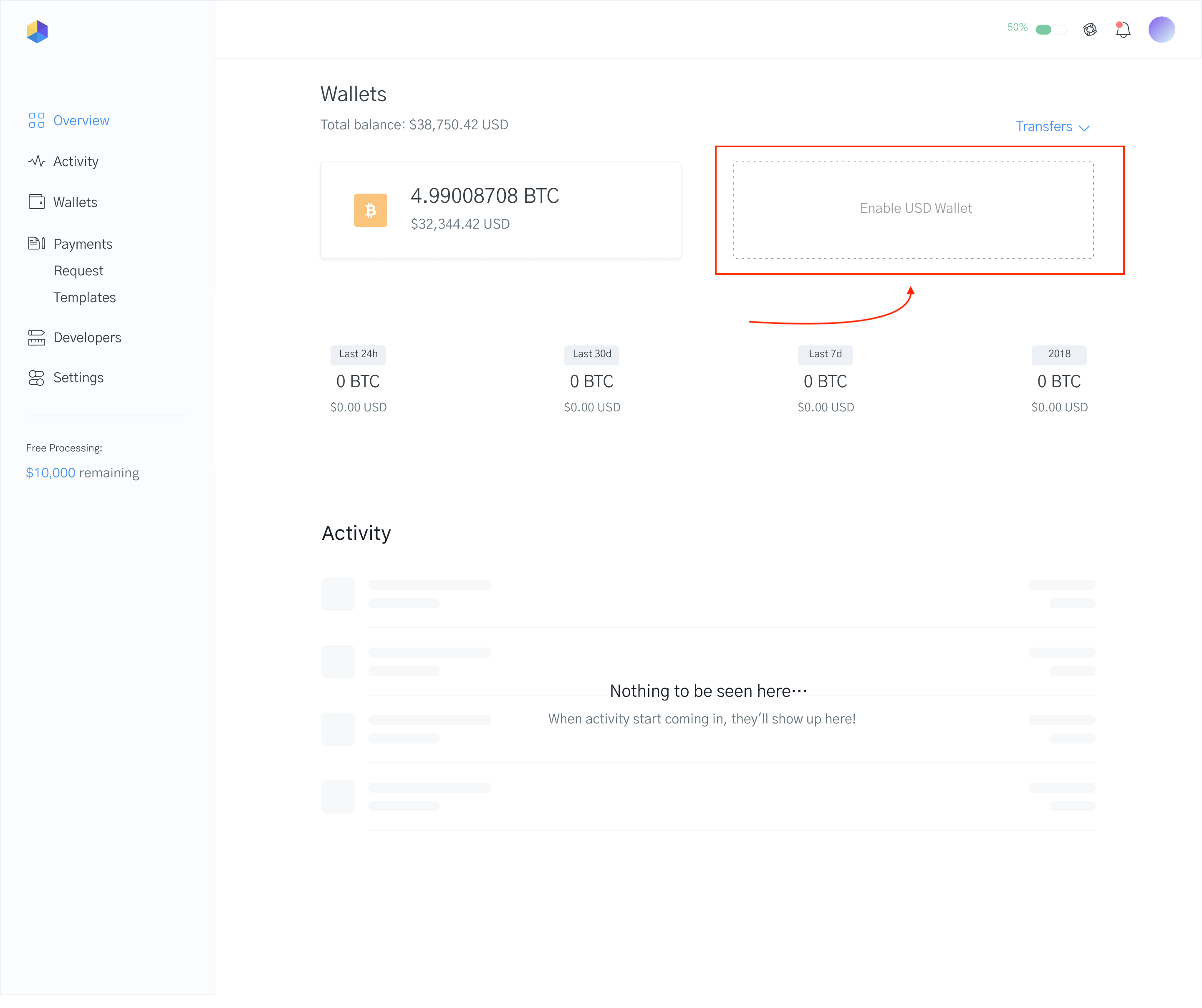 Image of Bank Transfers on the OpenNode dashboard