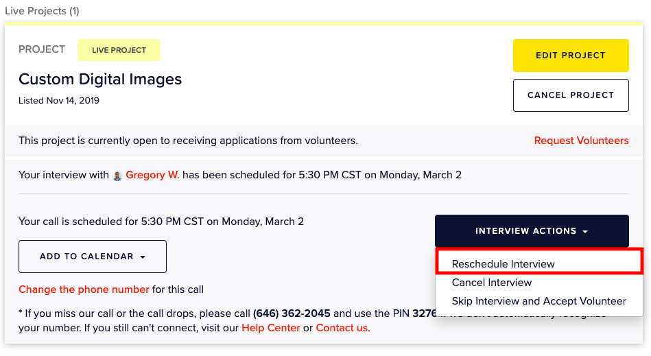 screenshot: project display on dashboard and reschedule steps. Click