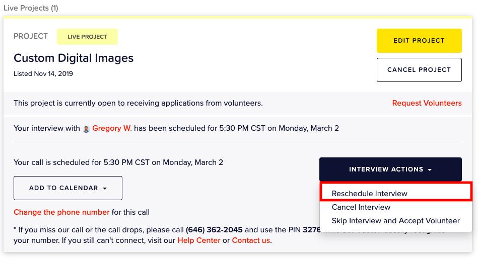 screenshot: interview actions drop down menu and selecting reschedule interview option.