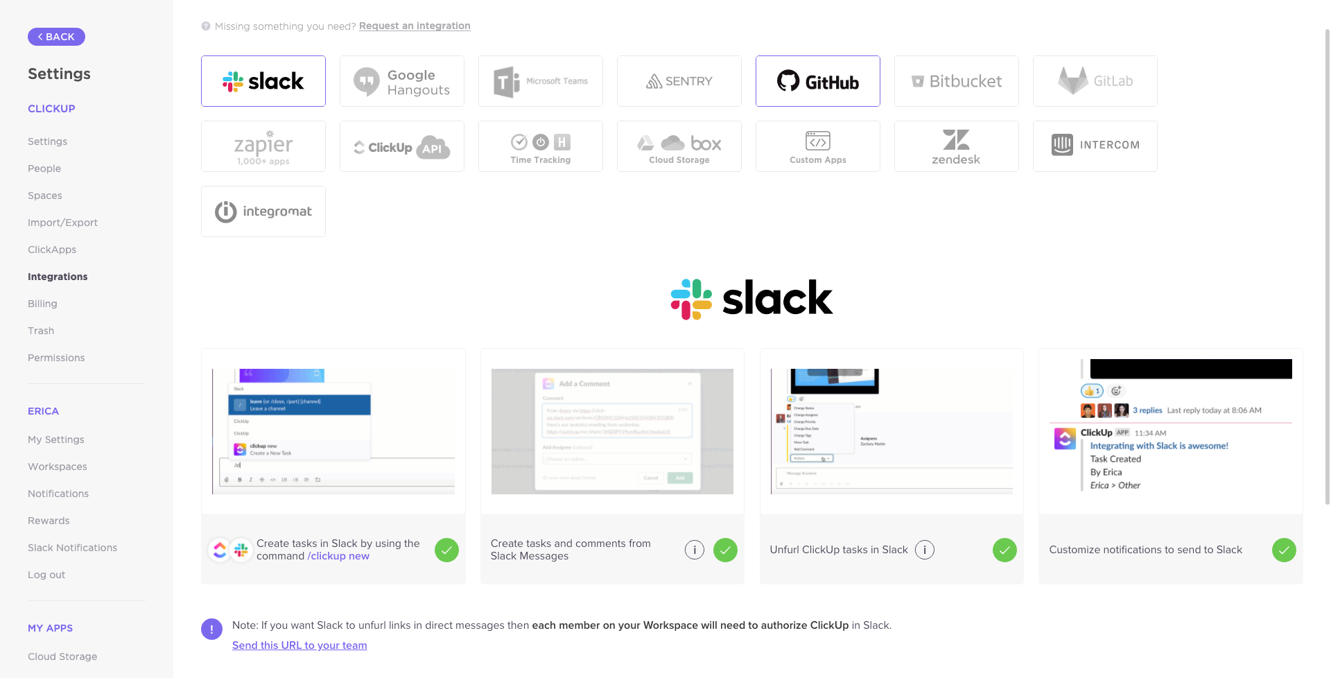 the integrations page in ClickUp for Slack