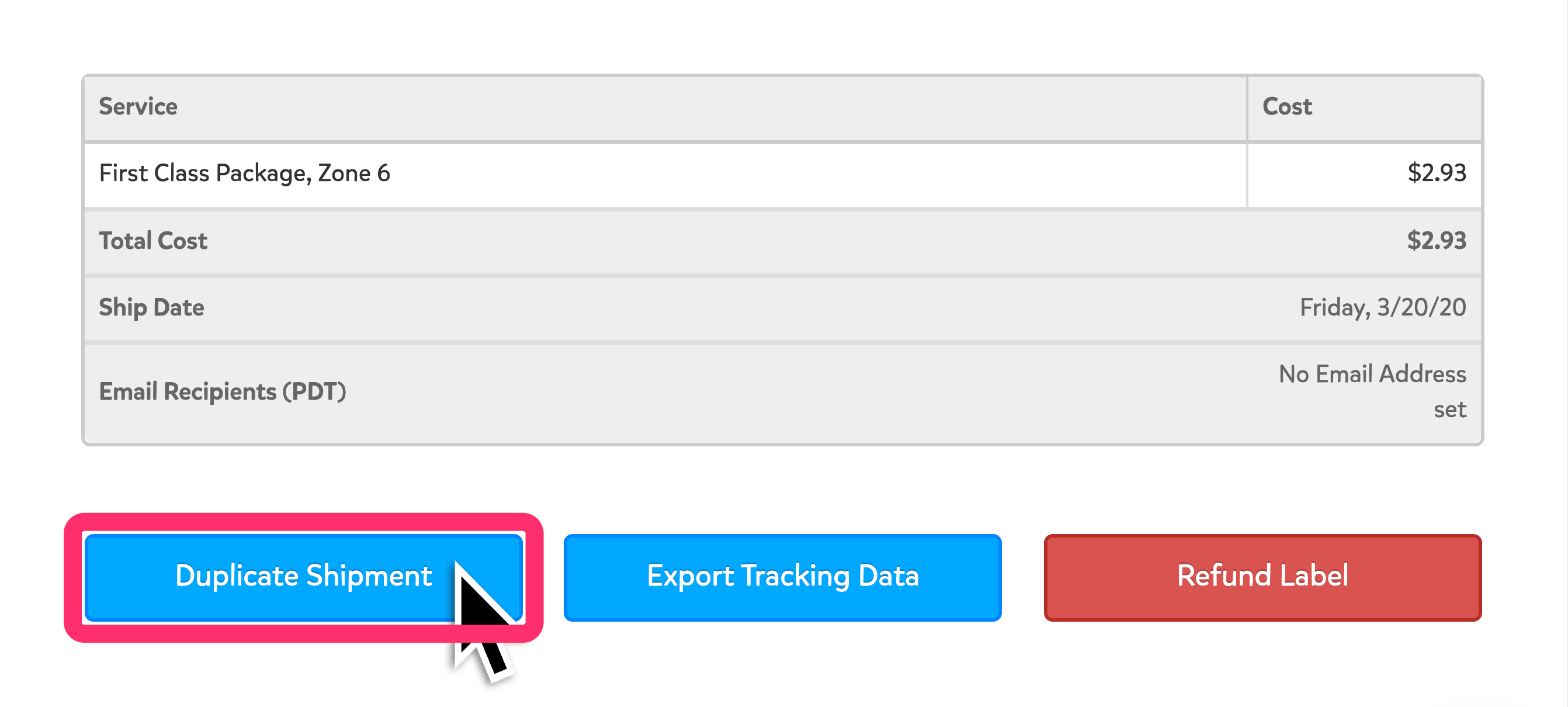 A screenshot of the bottom of the Shipment Details page. The blue 'Duplicate Shipment' button is highlighted in the bottom left corner.