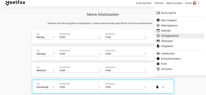 Verfügbarkeiten MeetFox