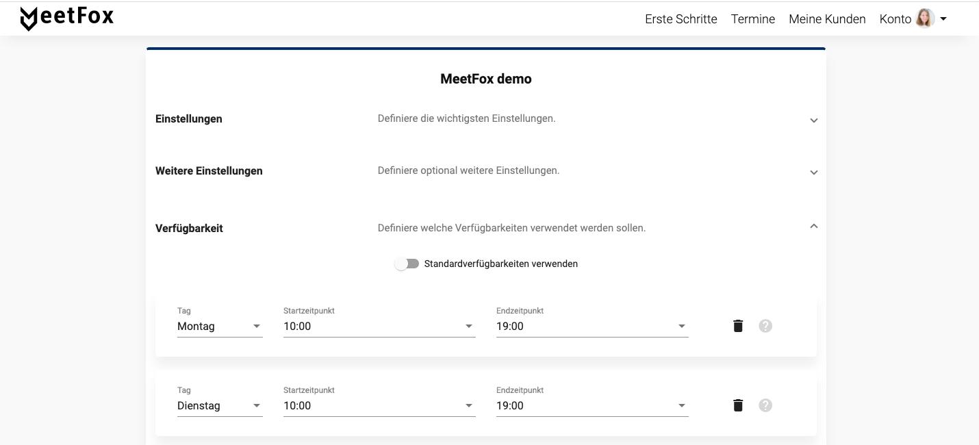 MeetFox Verfügbarkeiten pro Angebot einrichten