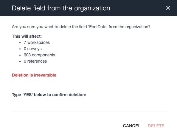 Ardoq delete fields from the organization