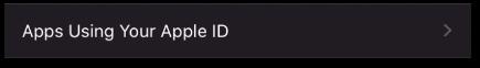Apple ID App usage button
