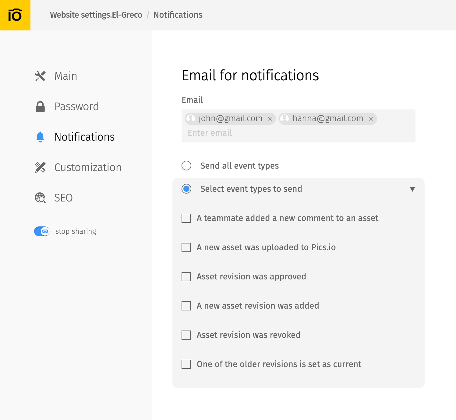 Email for notifications