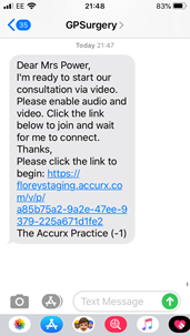 Example of video consultation message