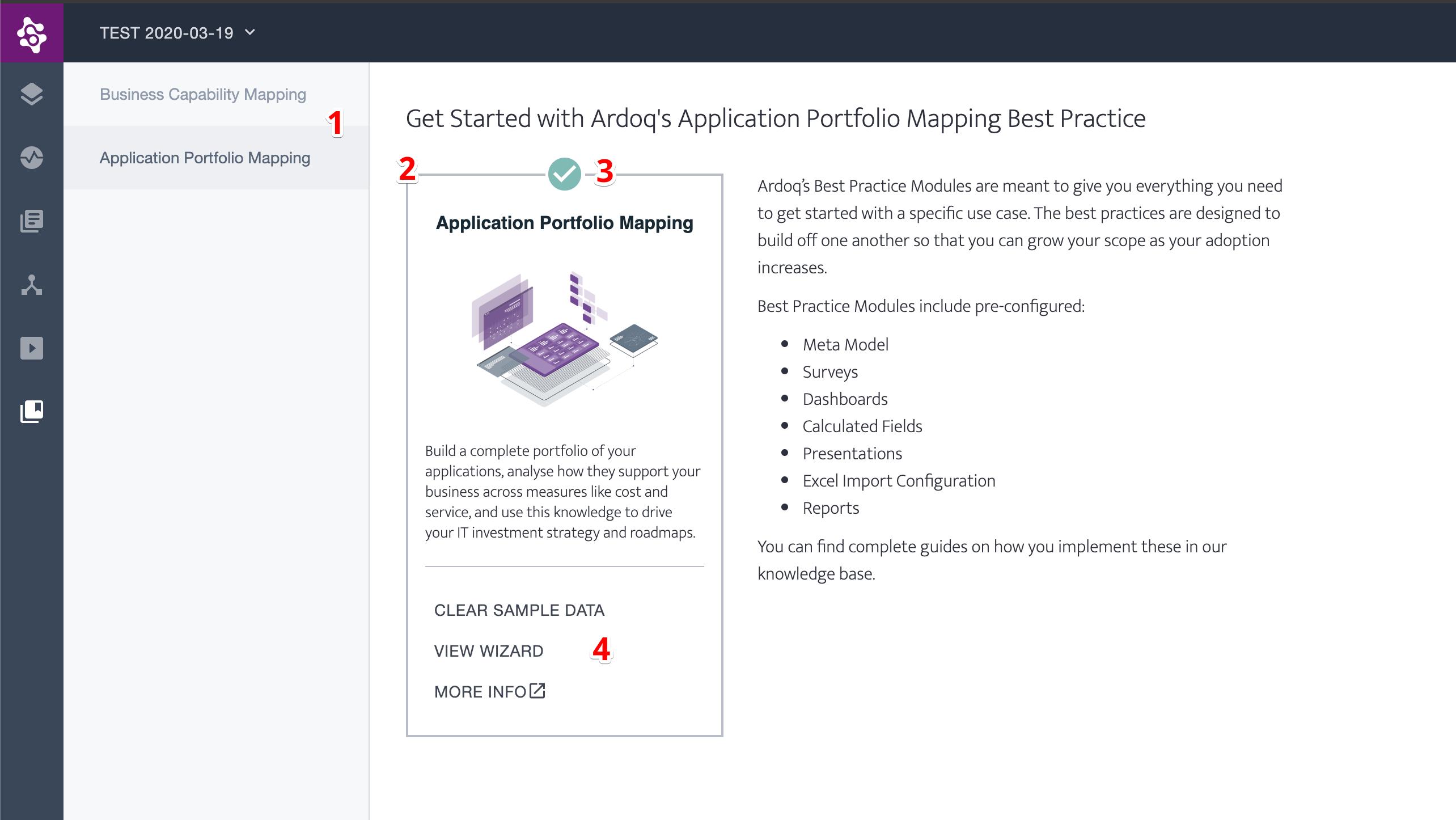 Ardoq available best practice modules