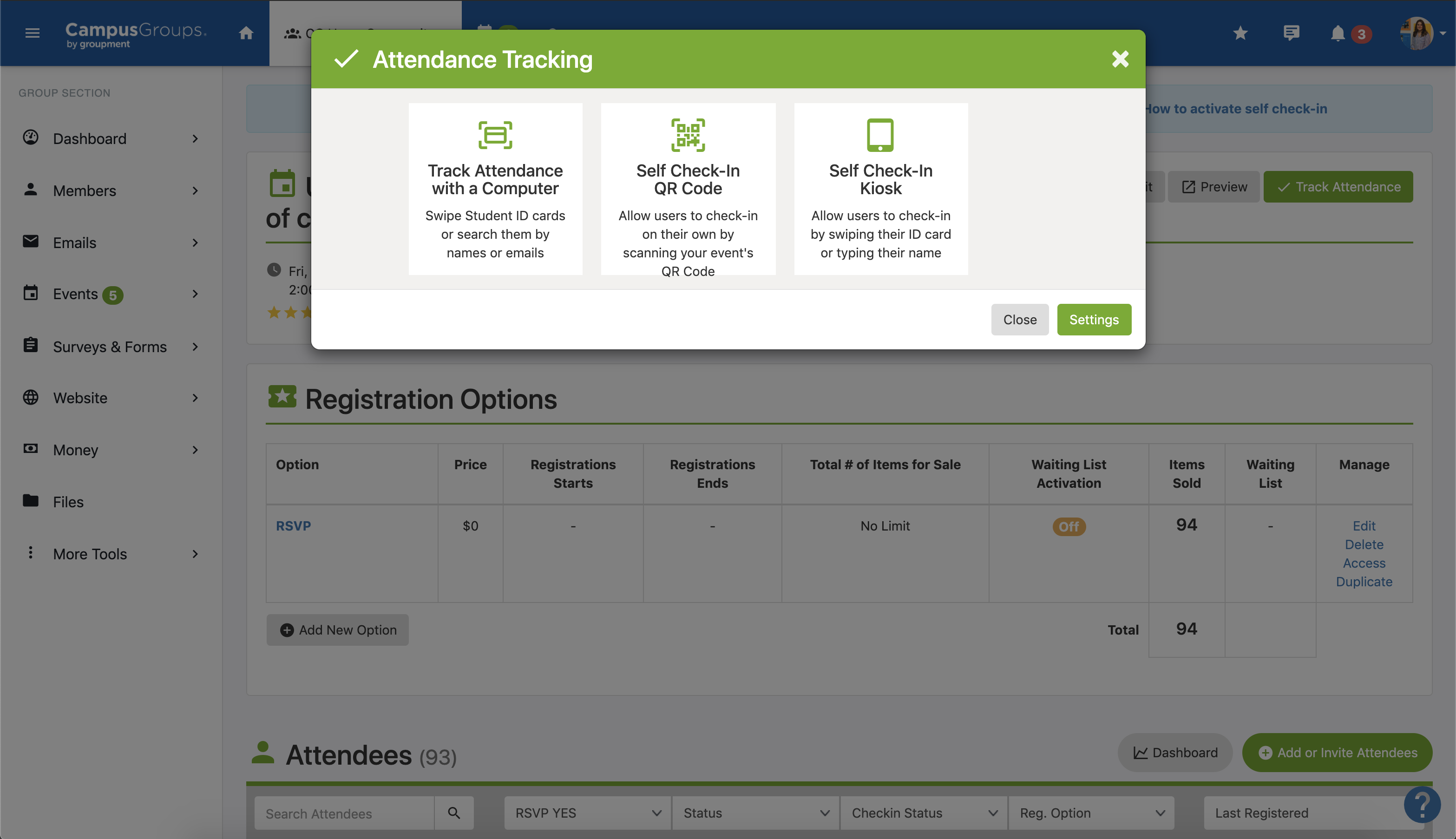 Attendance tracking options