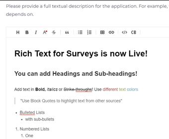 Ardoq surveys rich text editing
