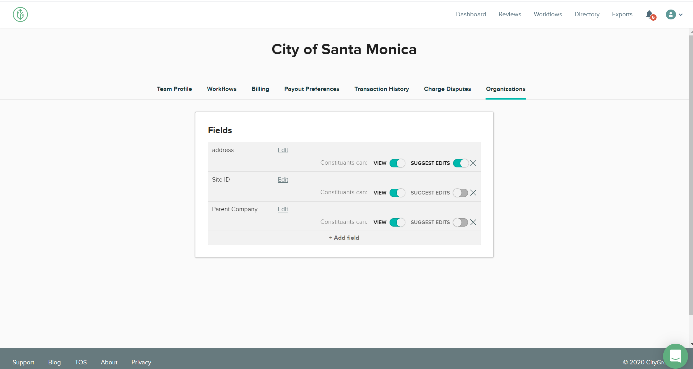 CityGrows Organizations tab under the teams page