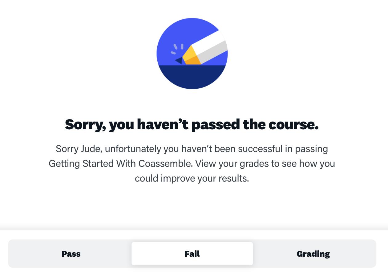 Online training platform finish screen