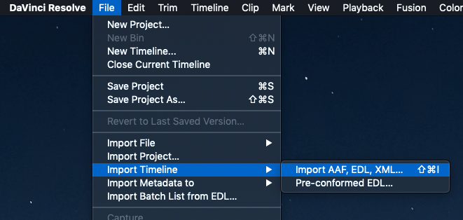 "Go to the ""File"" menu and click ""Import Timeline"" and then"