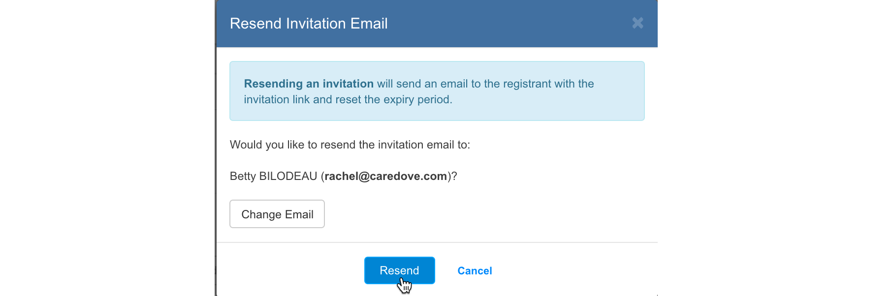 Resend Invitation Email button