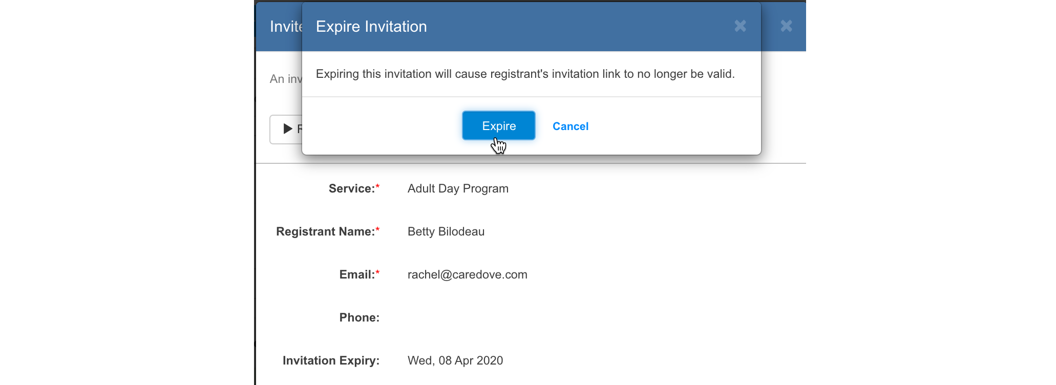 Manually expire invitations