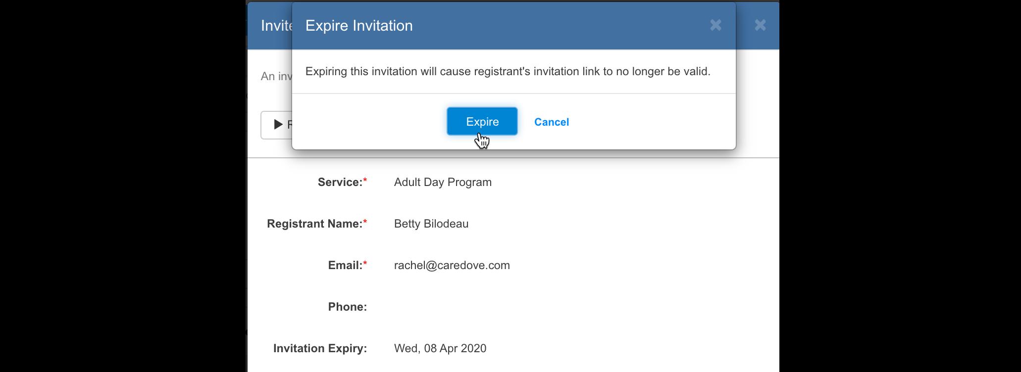 Manually expire invitations