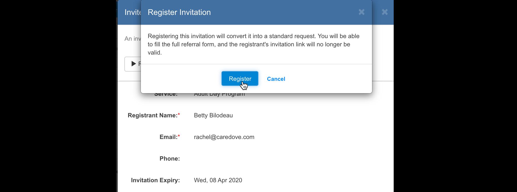 Register invitation function