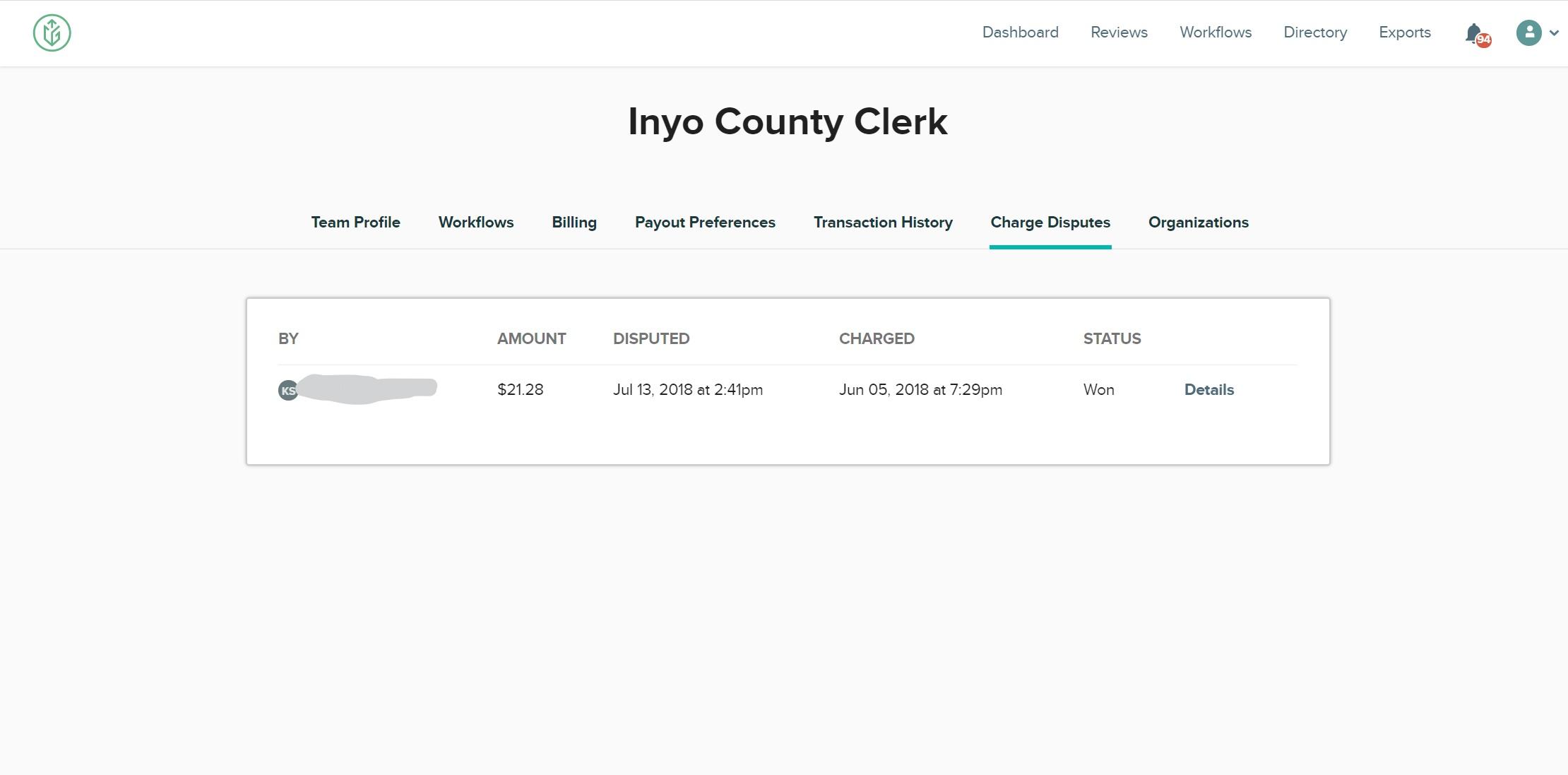 CityGrows charge disputes page