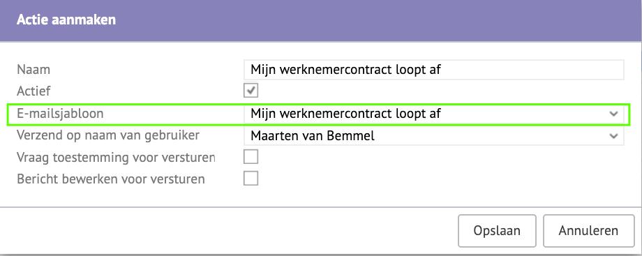Screenshot van het ''Actie aanmaken'' scherm met indicatie van het e-mailsjabloon